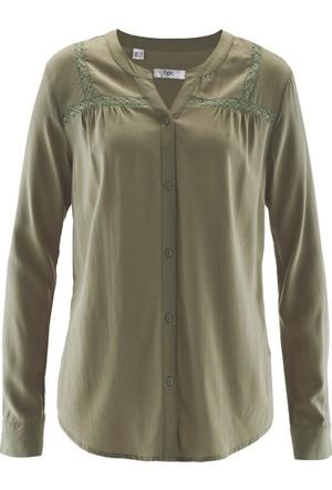 Bonprix Kadın Gri Dantel Detaylı Gömlek