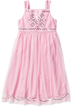 Bonprix Kız Çocuk Pembe Payetli Tül Elbise