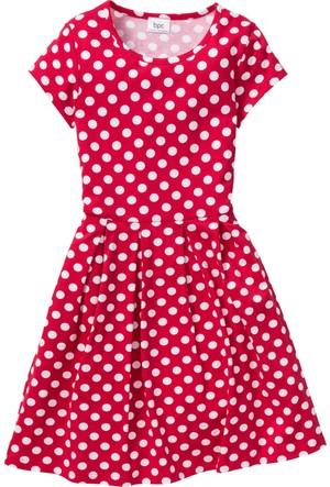 Bonprix Kız Çocuk Kırmızı Puantiyeli Elbise