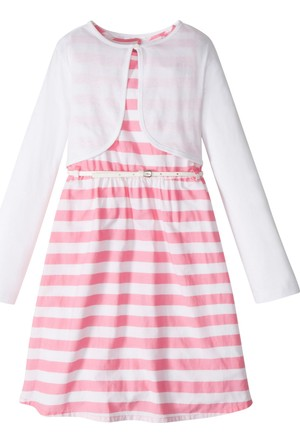 Bonprix Kız Çocuk Pembe Elbise + Kemer + Bolero (3'lü Takım)