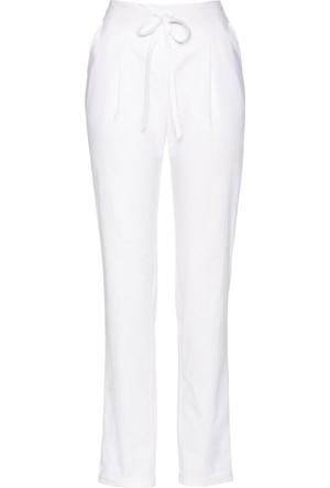 Bonprix Kadın Beyaz Bağcıklı Keten Pantolon