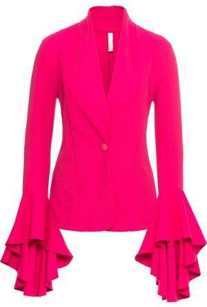 Bonprix Kadın Pembe Kolları Volanlı Blazer Ceket