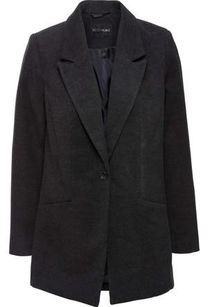 Bonprix Kadın Gri Yünlü Görünümde Blazer Ceket