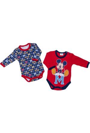 Disney Mickey Mouse Bebek 2'li Uzun Kol Body 8845