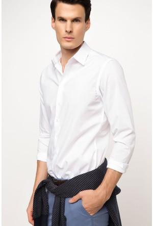 DeFacto Erkek Slim Fit Uzun Kollu Gömlek Beyaz