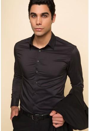 DeFacto Erkek Slim Fit Uzun Kollu Gömlek Siyah