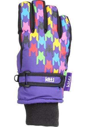Kitti Kız Çocuk Kar Eldiveni Kayak 4-8 Yaş Mor K421-5