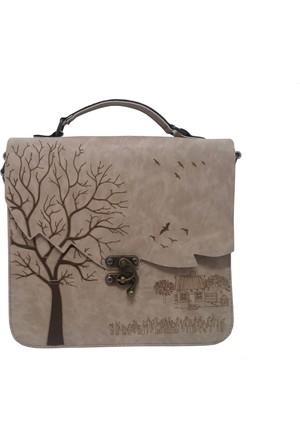Çanta Stilim Gri Renk Nubuk Deri 2422-K El Ve Çapraz Kadın Çantası