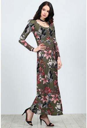 Womenice Baskılı Kuşaklı Düğmeli Elbise