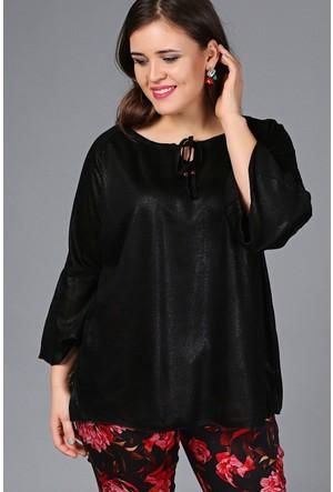 Trend Plus Yaka İpli Simli Bluz