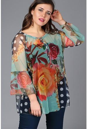 Trend Plus Şifon Desenli Yaka İpli Bluz