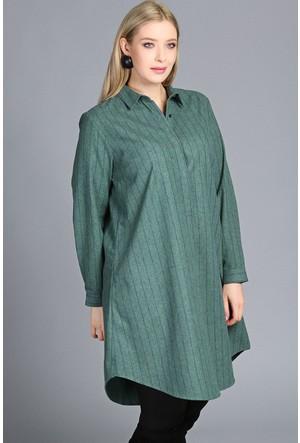 Trend Plus Çizgili Gömlek Tunik