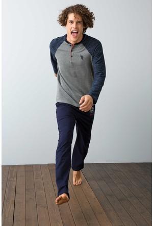U.S. Polo Assn. Erkek Patli Pijama Gri