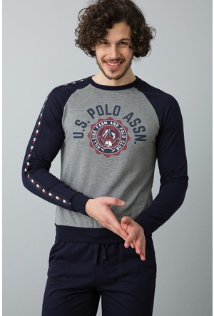 U.S. Polo Assn. Erkek Yuvarlak Yaka Pijama Gri