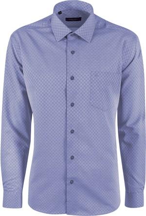 Sabri Özel 3502 Düğmesiz Yaka Cepli Klasik Kesim Gömlek
