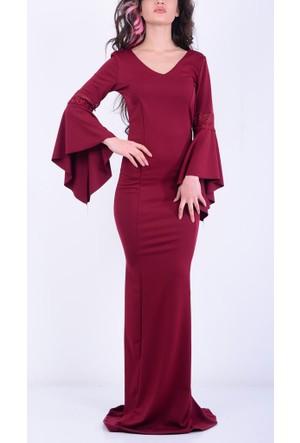Arin Kadın V Yaka İspanyol Kol Uzun Elbise 17-2B276025