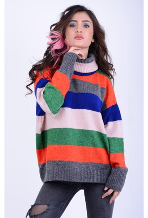 Mixray Kadın Renkli Çizgili Kazak 17-2B136006