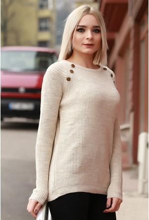 Zemin Giyim Düğmeli Triko Kazak-16157