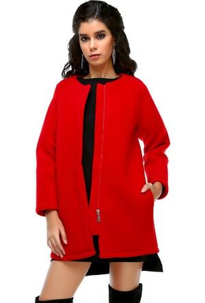Bonalodi Nar Kırmızı Polar Kadın Kaban Ceket
