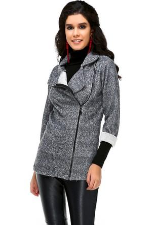 Bonalodi Keçe Kumaş Gri Kadın Ceket