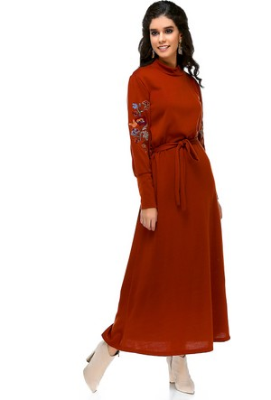 Bonalodi Balon Kol Nakış Detay Triko Kumaş Koyu Hardal Uzun Kadın Elbise