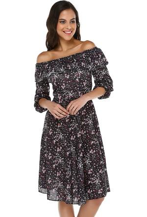Quincey Kadın Fırfır Yaka Midi Elbise