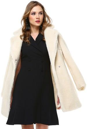 Sense 31065 14993 Düğmesiz Kolsuz Etek Ucu Fırfırlı Krep Elbise