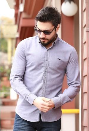 Zemin Giyim Önü Kartal Nakışlı Erkek Gömlek-Meg-1222