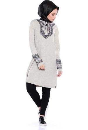 Zemin Giyim Yakası Otantik Desenli Tunik-1495