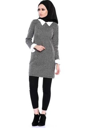 Zemin Giyim Yaka Ve Kol Ucu Gömlek Elbise-2389