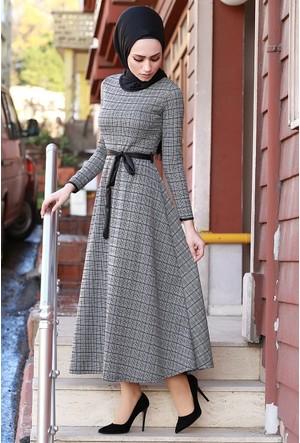Zemin Giyim Jakarlı Elbise-2490-1