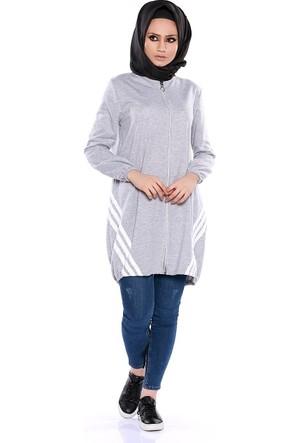 Zemin Giyim Şeritli Fermuarlı Tunik-2588