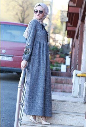 Zemin Giyim Kolu Nakışlı Elbise-1073