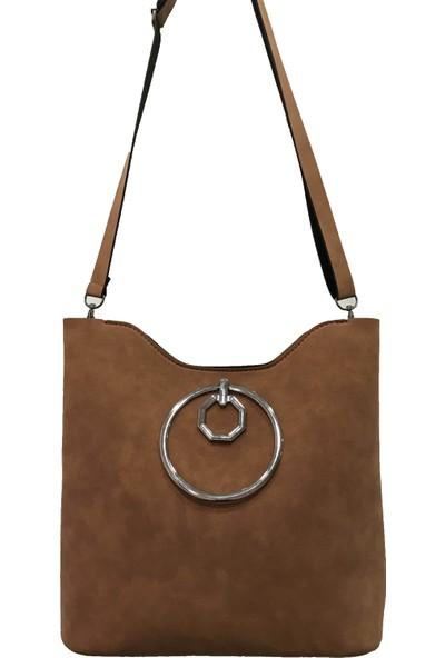 Çanta Stilim Taba Nubuk Deri 3495-T El Ve Çapraz Kadın Çantası