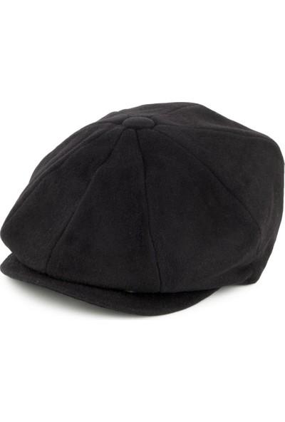 Modamarka Shop Erkek Siyah Yün Şapka Kasket Newsboy Cap