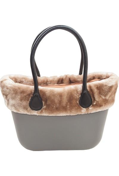 Picco Kullanışlı Kadın El Ve Kol Çantası Gri Polarlı