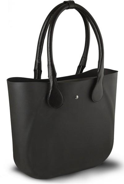 Picco Kullanışlı Kadın El Ve Kol Çantası Siyah Deri Saplı