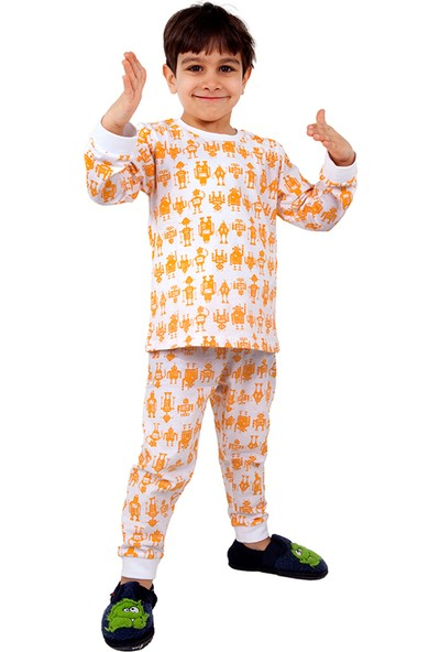 Bhr Kids Çocuk Pijama Takımı Turuncu Robot 1 - 4 Yaş