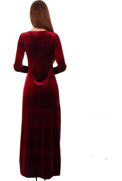 Adressim Sabit Kolyeli Kadife Uzun Elbise
