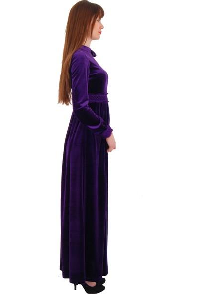 Adressim Omuz Düğmeli Kadife Uzun Elbise