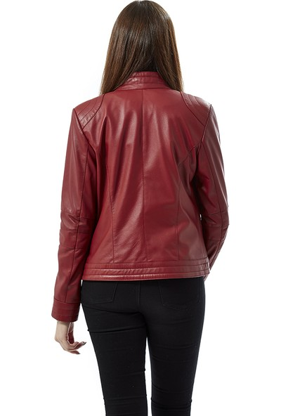 Deriza Agnese Kırmızı Deri Ceket