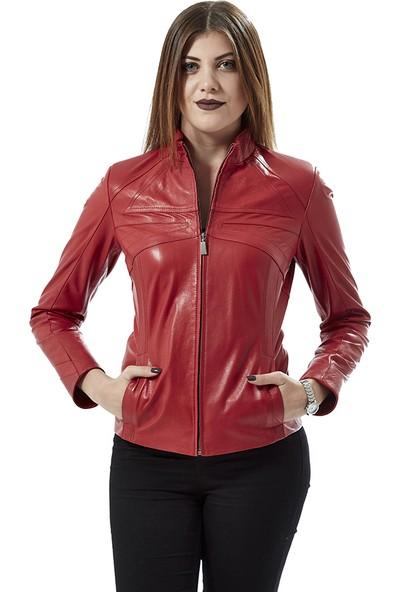 Deriza Cinzia Kırmızı Deri Ceket
