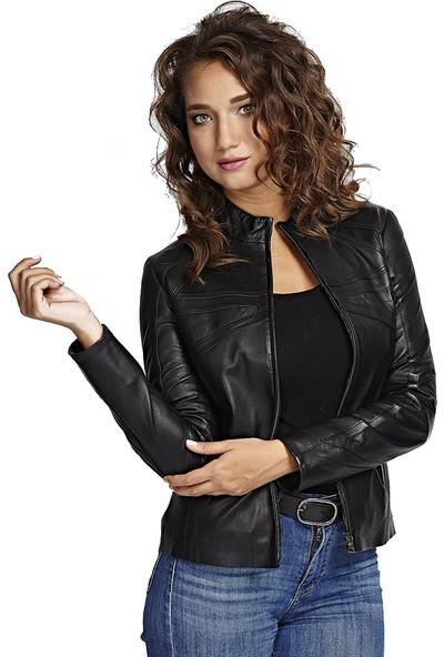 Deriza Cinzia Siyah Deri Ceket