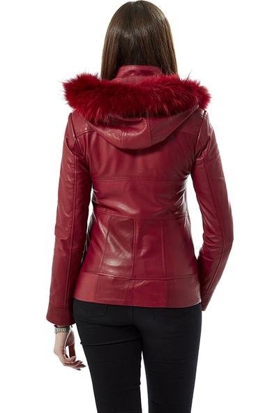 Deriza Kırmızı Kapüşonlu Deri Ceket