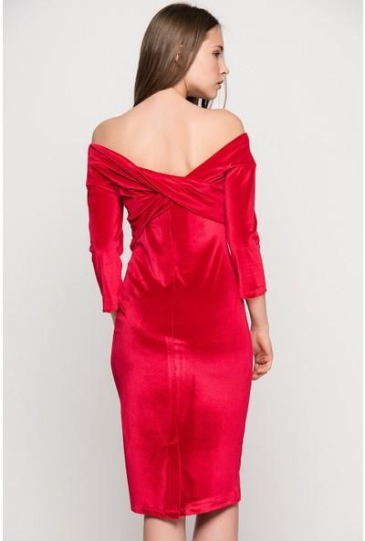 İroni Omuz Bantlı Kadife Kalem Elbise - 5160-1145 Kırmızı