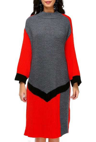 Bonalodi Selanik Örme Renkli Boğazlı Kırmızı Gri Desen Kadın Tunik Elbise