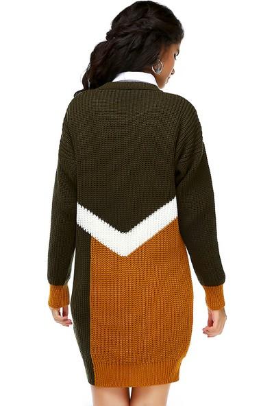 Bonalodi Selanik Örme Hardal Haki Desen Kadın Tunik Elbise