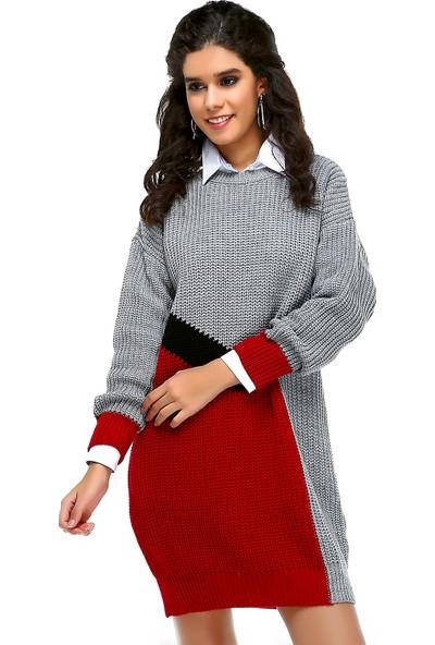 Bonalodi Selanik Örme Gri Kırmızı Desen Kadın Tunik Elbise