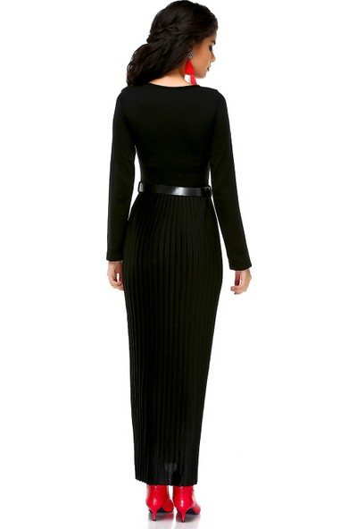 Bonalodi Eteği Piliseli Kemerli Siyah Triko Maxi Uzun Kadın Elbise