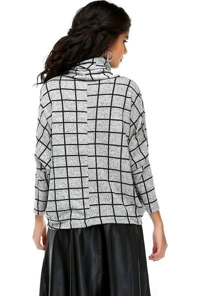 Bonalodi Yarasa Kol Yumoş Kumaş Gri Boğazlı Kadın Tunik Bluz